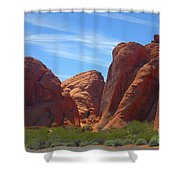Colorful Landscape Rock Mountains Of Overton Nevada  Shower Curtain