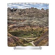 Colorful Layered Mountains  Shower Curtain