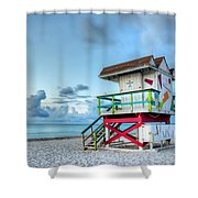 Colorful Lifeguard Tower Shower Curtain