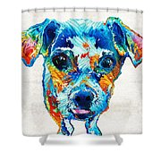 Colorful Little Dog Pop Art By Sharon Cummings Shower Curtain