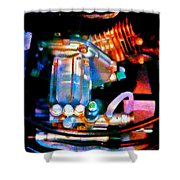 Colorful Machine In Blue And Purple Shower Curtain