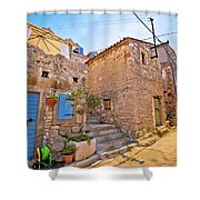 Colorful Mediterranean Stone Street Of Prvic Island Shower Curtain