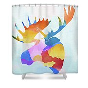 Colorful Moose Head Shower Curtain