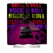 Colorful Music Rock N Roll Guitar Retro Distressed T-shirt Shower Curtain