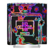 Colorful Neon Chanel Five  Shower Curtain