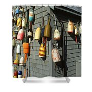 Colorful New England Buoys Shower Curtain