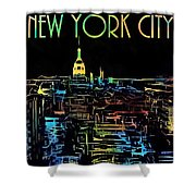 Colorful New York City Skyline Shower Curtain