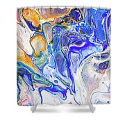Colorful Night Dreams 5. Abstract Fluid Acrylic Painting Shower Curtain