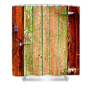 Colorful Old Barn Wood Door Shower Curtain