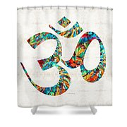 Colorful Om Symbol - Sharon Cummings Shower Curtain