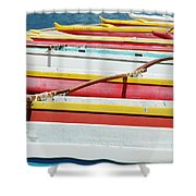 Colorful Outrigger Canoes Shower Curtain