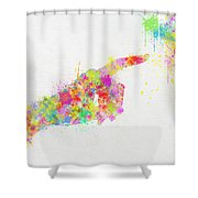 Colorful Painting Of Hand Pointing Finger Shower Curtain