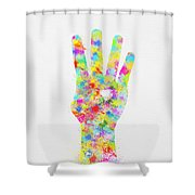 Colorful Painting Of Hand Pointing Four Finger Shower Curtain