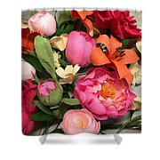 Colorful Paper Flower Blossoms  Shower Curtain