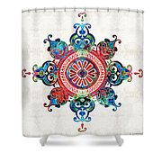 Colorful Pattern Art - Color Fusion Design 3 By Sharon Cummings Shower Curtain