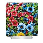 Colorful Petunias 2 Shower Curtain
