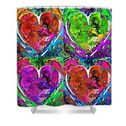 Colorful Pop Hearts Love Art By Sharon Cummings Shower Curtain