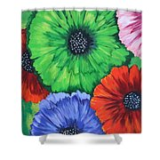 Colorful Poppy Lime Shower Curtain