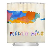 Colorful Puerto Rico Map Shower Curtain
