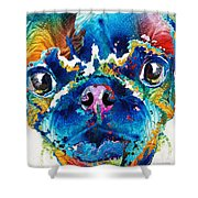 Colorful Pug Art - Smug Pug - By Sharon Cummings Shower Curtain