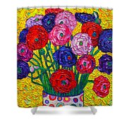 Colorful Ranunculus Flowers In Polka Dots Vase Palette Knife Oil Painting By Ana Maria Edulescu Shower Curtain