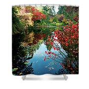 Colorful Reflection In Autumn Gardens. Shower Curtain