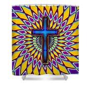 Colorful Retro Cross Shower Curtain