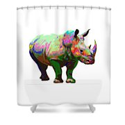 Colorful Rihno Shower Curtain