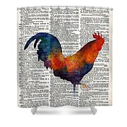 Colorful Rooster On Vintage Dictionary Shower Curtain by Hailey E Herrera