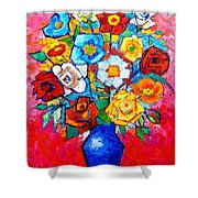 Colorful Roses And Camellias - Abstract Bouquet Of Flowers Shower Curtain