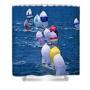 Colorful Sails In Ocean Shower Curtain by Sharon Green - Printscapes