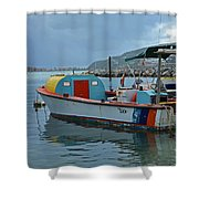 Colorful Saint Martin Power Boat Caribbean Shower Curtain