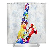Colorful Saxophone Shower Curtain
