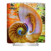Colorful Seahorse And Nautilus Shell Shower Curtain
