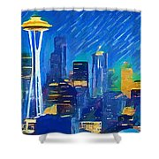Colorful Seattle Skyline Panorama Shower Curtain