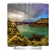Colorful Skies Over Lake Owyhee Shower Curtain