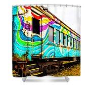 Colorful Skunk Train Passenger Car Shower Curtain