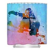Colorful Snowboarder Paint Splatter Shower Curtain