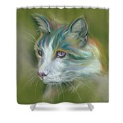 Colorful Spirit Tabby Cat Shower Curtain by MM Anderson