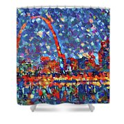 Colorful St Louis Skyline Shower Curtain