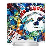 Colorful Statue Of Liberty - Sharon Cummings Shower Curtain