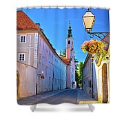 Colorful Street Of Baroque Town Varazdin  Shower Curtain