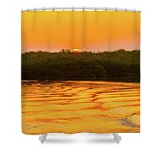 Colorful Sunrise Over Island In Galapagos Shower Curtain