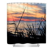 Colorful Sunset On Lake Huron Shower Curtain by Danielle Allard