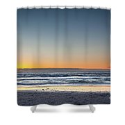 Colorful Sunset Over A Desserted Beach Shower Curtain