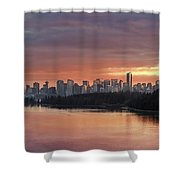 Colorful Sunset Over Vancouver Bc Downtown Skyline Shower Curtain