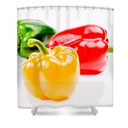 Colorful Sweet Peppers Shower Curtain by Setsiri Silapasuwanchai