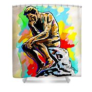Colorful Thinker Shower Curtain
