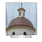 Colorful Tiles On A Church Dome Shower Curtain