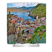 Colorful Vernazza From Behind Shower Curtain